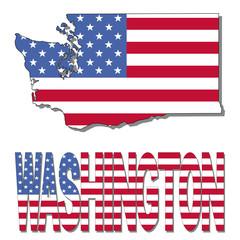 Washington map flag and text illustration
