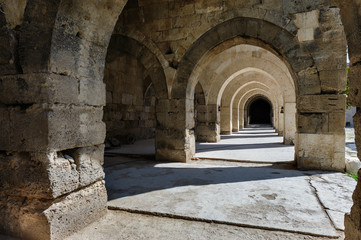 arches and columns in Sultanhani caravansary on Silk Road,