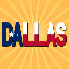 Dallas flag text with sunburst illustration