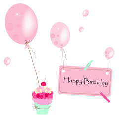 Happy birthday greeting card with cake, balloon vector