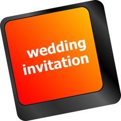 Wedding invitation word button on keyboard key