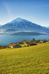 Thun lake village houses view in winter morning