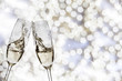 canvas print picture - Two glasses with champagne toasting