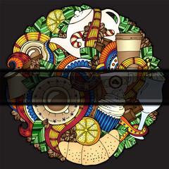 Tea, coffe, sweets doodle pattern invitation.