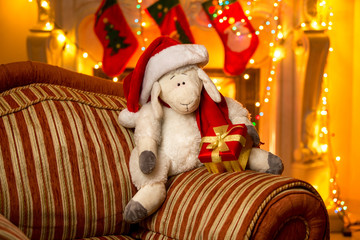 photo of symbol of year 2015 - sheep, at decorated house