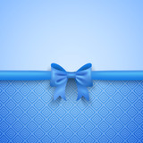 Fototapety Romantic vector blue background with cute bow and pattern