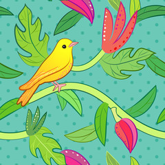Nature seamless pattern with bird and leaf