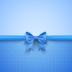 Romantic vector blue background with cute bow and pattern