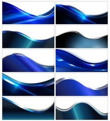 Shiny blue banner & background set