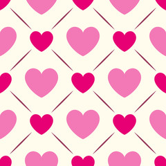 Seamless geometric pattern with hearts. Vector illustration