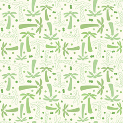 Coconut palm tree silhouette and outline seamless pattern