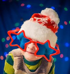little boy in funky glasses