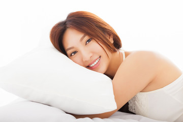 beautiful   asian woman sleeping in the bed