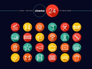 Cinema and movie flat icons set