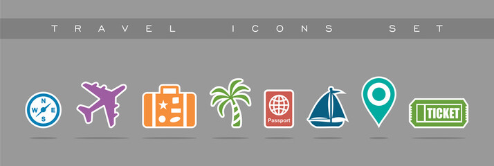 Travel icons set design