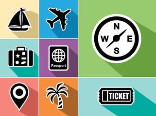 Travel flat icons set design