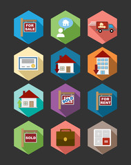 Real Estate flat icons set illustration