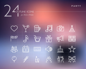 Party outline icons set