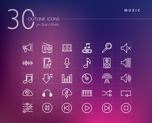 Music outline icons set