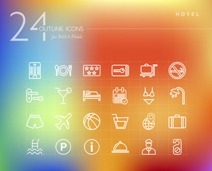Hotel outline icons set