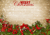 Fototapety Christmas wood background with firtree,cardinal and poinsettia