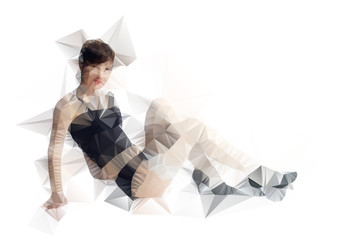 Abstract polygonal body. Triangles portrait for your design.