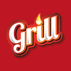 Grill Menu Card Design template label