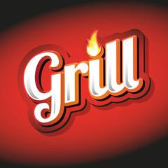 Grill Menu Card Design template label
