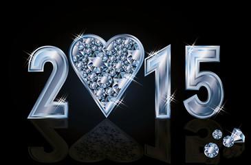 Happy 2015 New year diamond poker heart