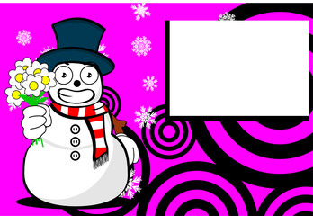 snow man cartoon xmas background card7