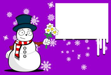 snow man cartoon xmas background card5