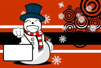 snow man cartoon xmas background card3