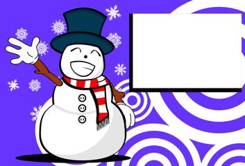 snow man cartoon xmas background card2