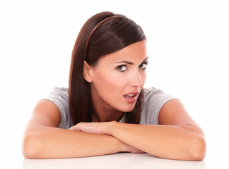 Unhappy lady looking at camera with angry look