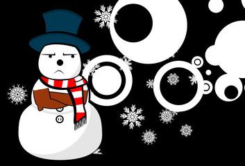 snow man cartoon xmas background card