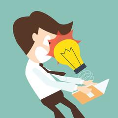 A light bulb attack businessman open book - knowledge concept