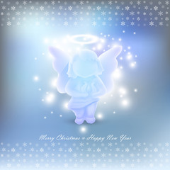 Christmas card with angel over blue background with snowflakes
