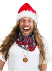 Retro hippie Santa yelling Wow on white