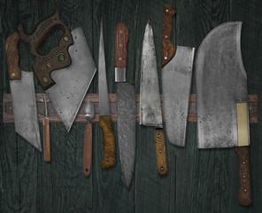 vintage knives on the rack