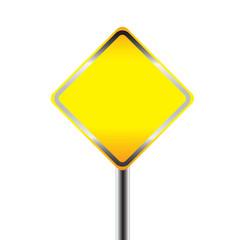 Blank warning road sign. vector illustration