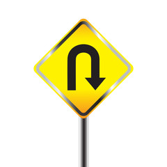 U-Turn road sign. Yellow road sign with turn symbol isolated on