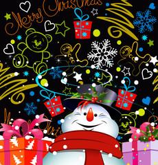 Christmas card. Happy snowman.