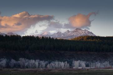 mountain range at sunset, colorado