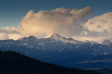 mountain range at dawn, colorado