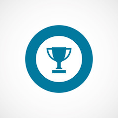 winner cup bold blue border circle icon.