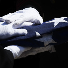 Hands holding the americian flag
