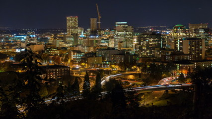 Time Lapse of Traffic with Portland Oregon Cityscape Closeup