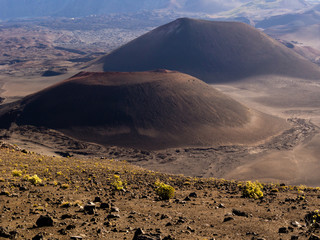 Two cinder cones in Haleakala volcanic crater