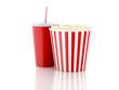 popcorn and drink. 3d illustration