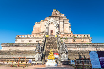 Ancient pagoda at Wat Chedi Luang temple in Chiang Mai, Thailand
